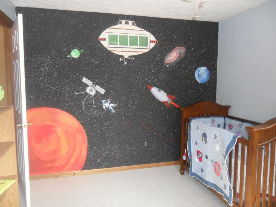 children's room space mural
