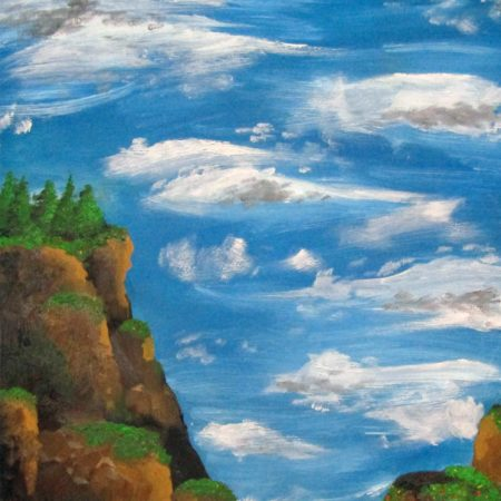 Oil Painting clouds and cliffside