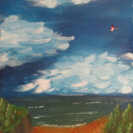 oil painting witch flying over ocean coast