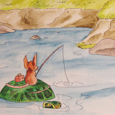 Watercolor Illustration mouse and turtle fishing