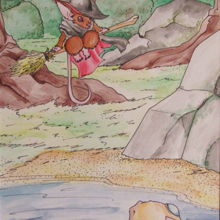 Watercolor Illustration witch mouse visiting fish friend