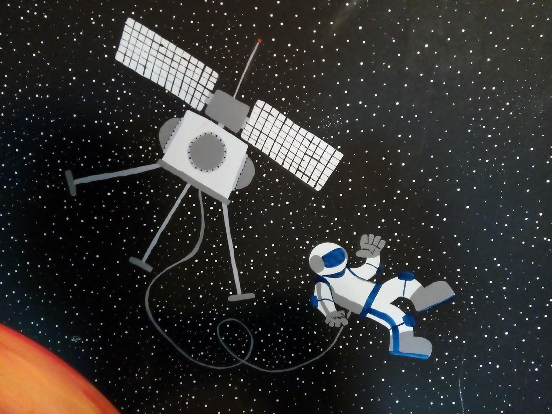children's room mural astronaut