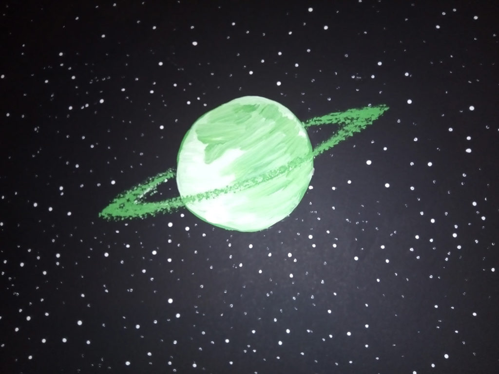 children's room mural space planet