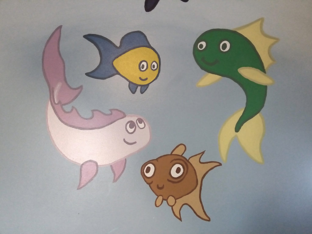 children's room mural fishies