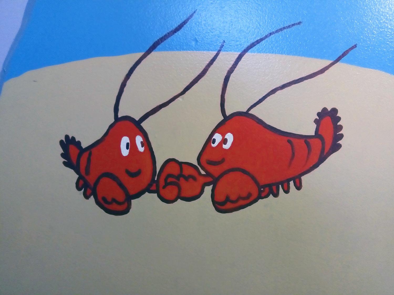 children's room mural lobsters