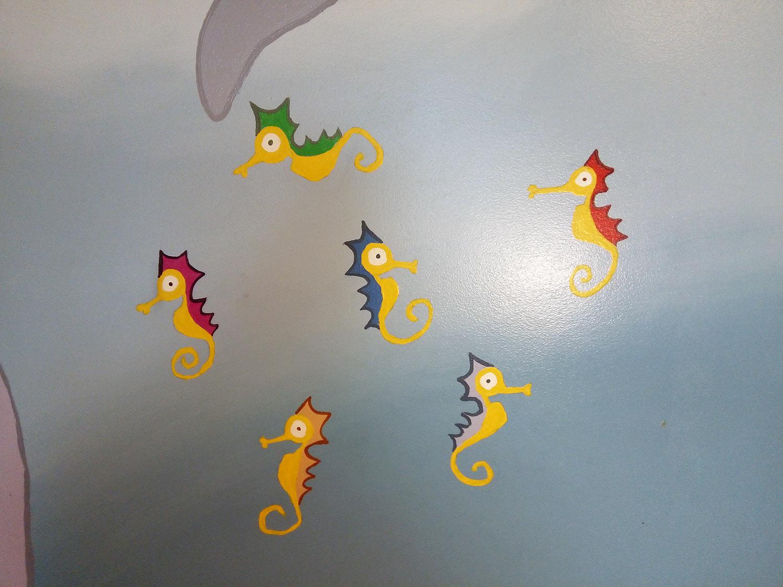 children's room mural seahorses