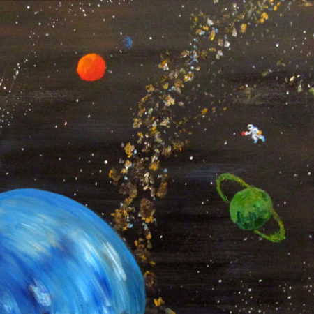 oil painting outer space coffee astronaut
