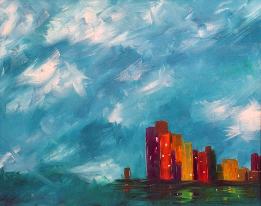 oil painting cityscape buildings