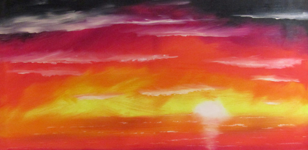 sunset ocean oil painting