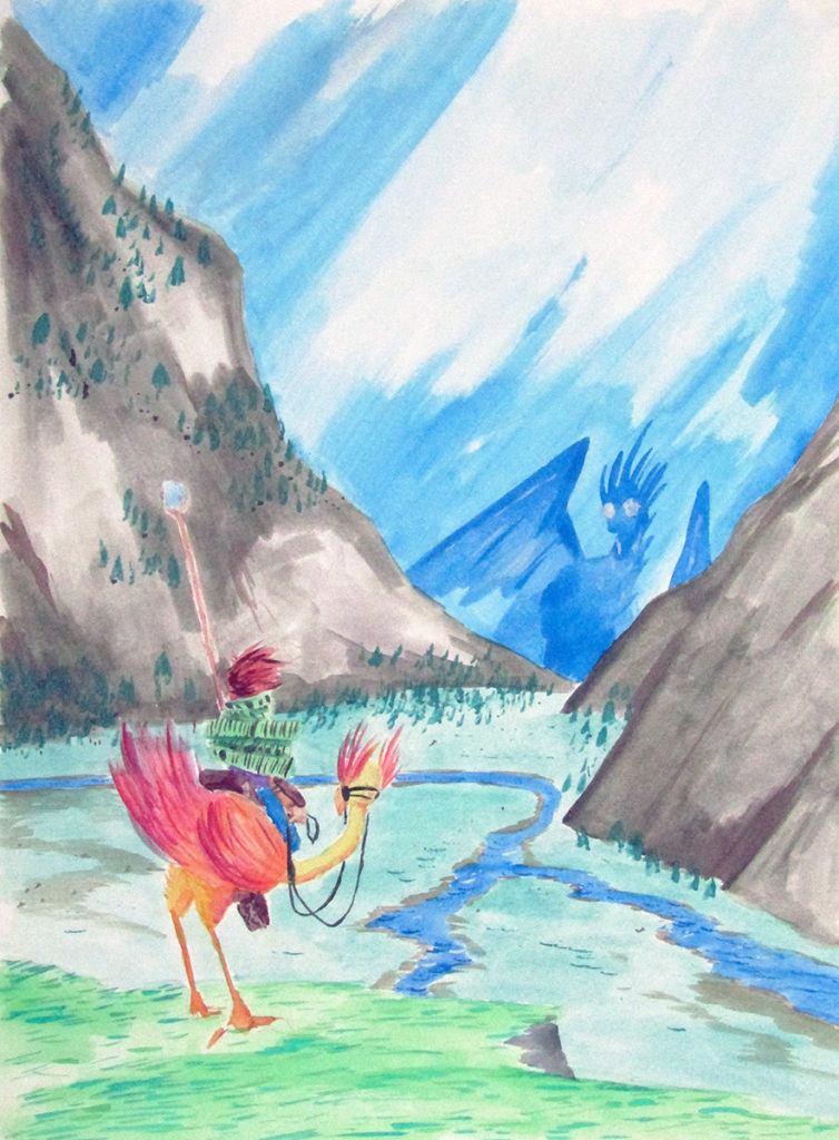 watercolor fantasy landscape dragon wizard rider
