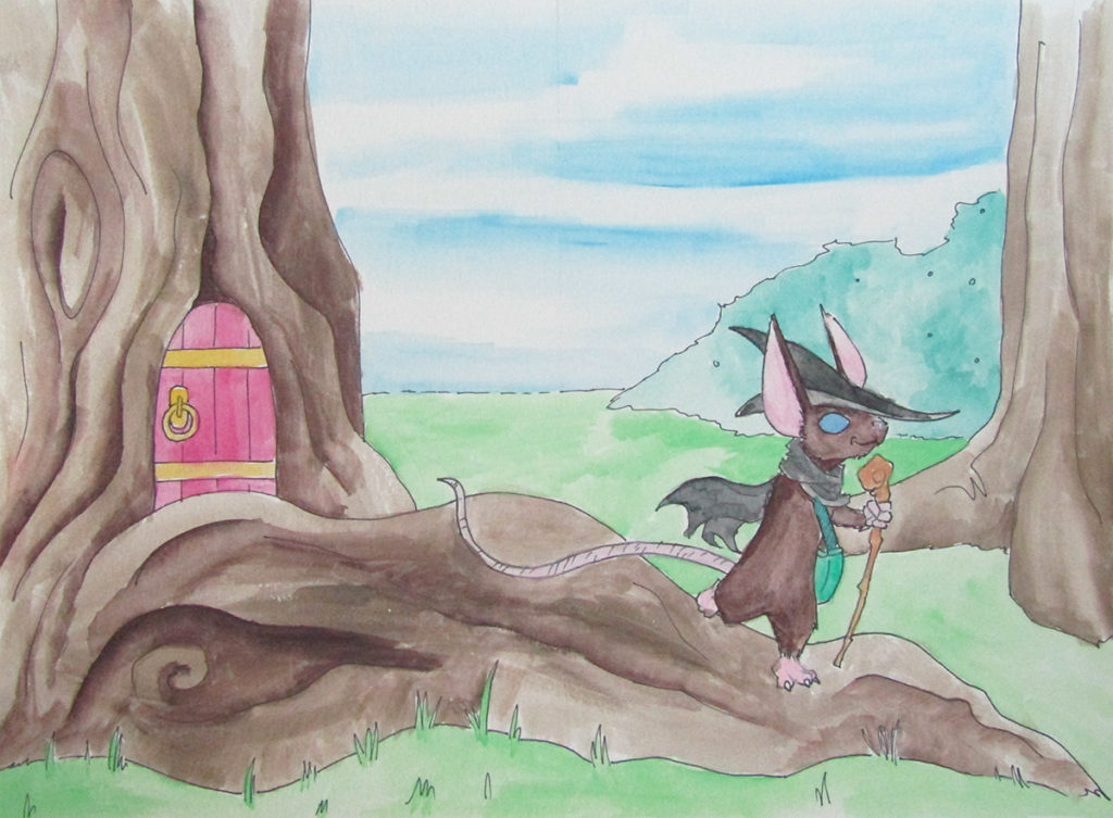 watercolor mouse witch magic