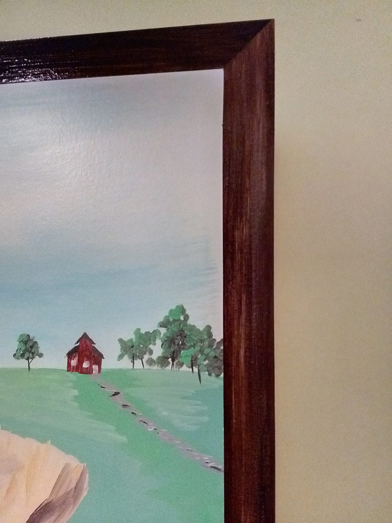 faux wood frame on mural