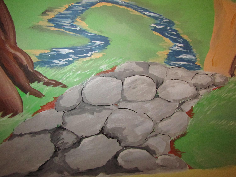 fantasy mural cobblestone path