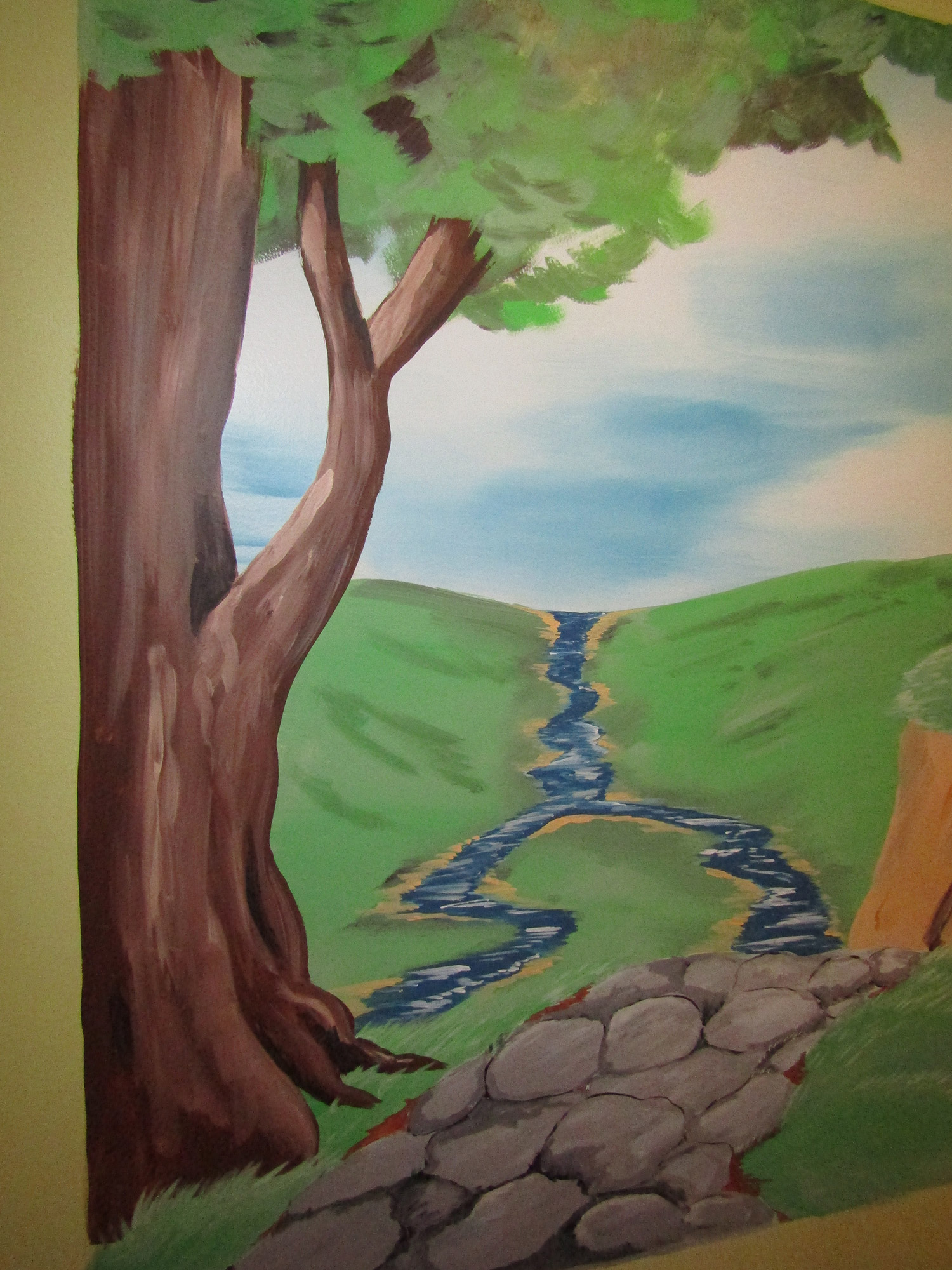 fantasy mural tree and pathway