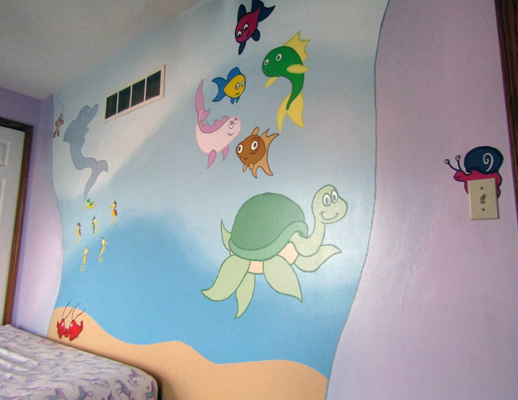 awesome ocean mural for kids room