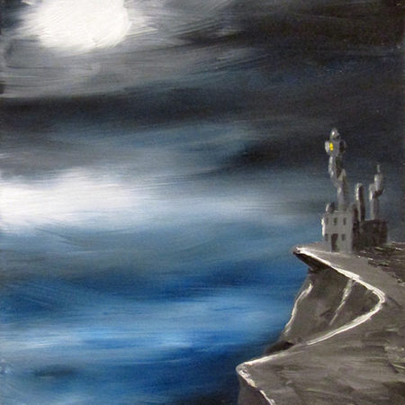 oil painting spooky cozy castle in the mountains