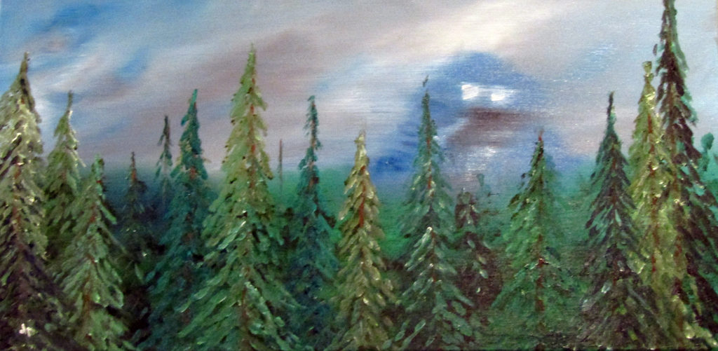 oil painting forest spirit big monster
