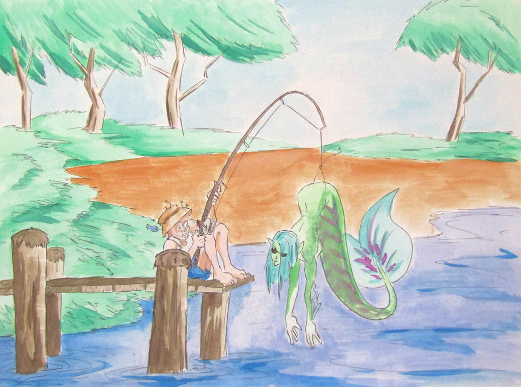 watercolor illustration mermaid fisherman surpries