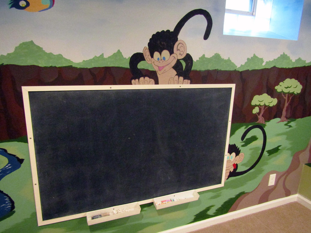 mural with chalk board and monkeys