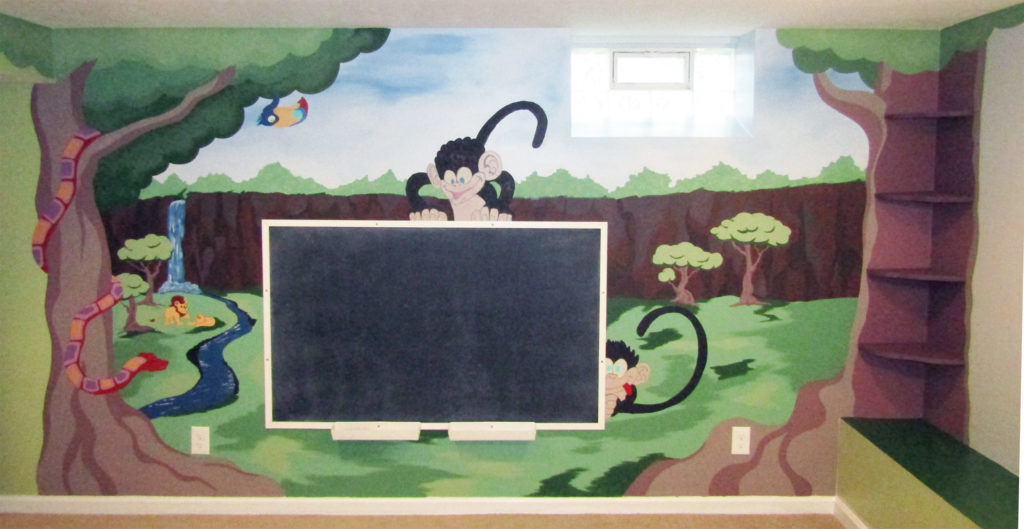 playroom mural with chalkboard