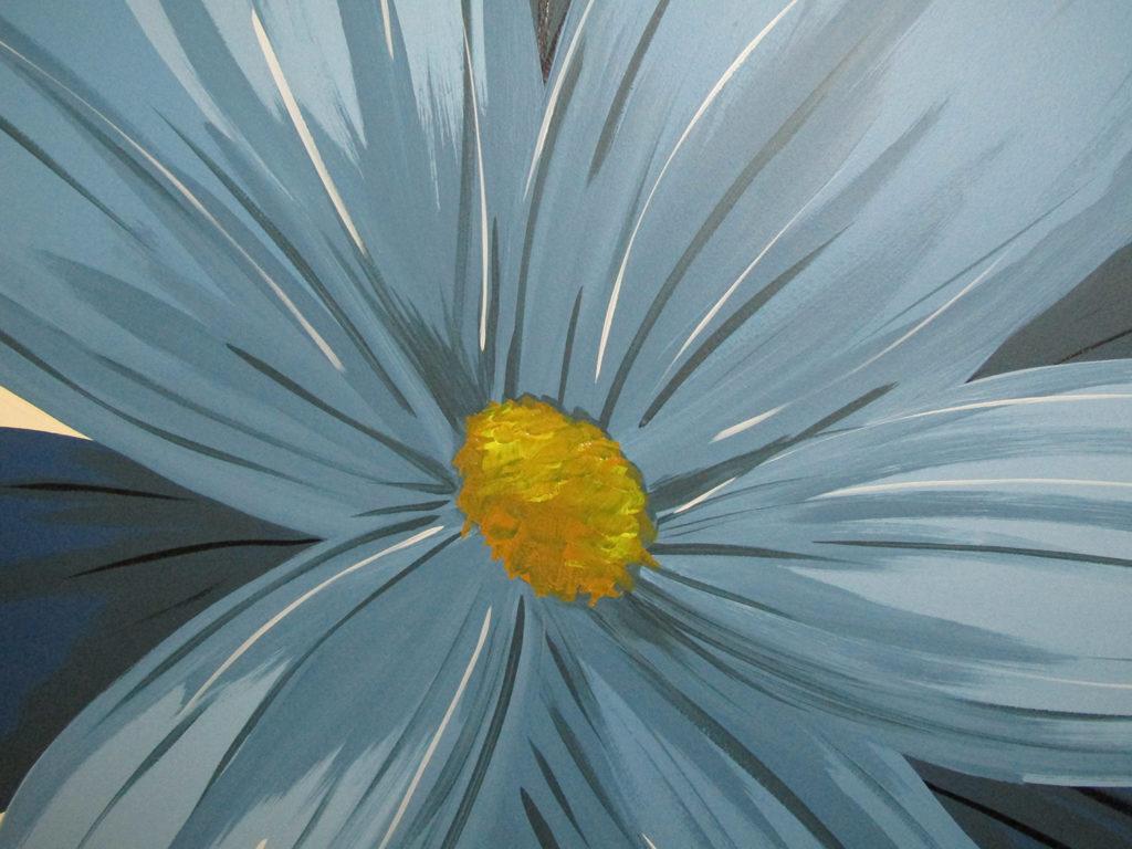 blue flower detail cozy mural