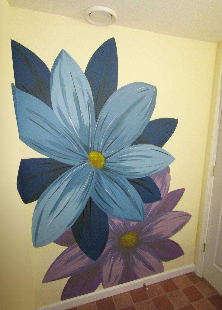 bathroom mural flowers