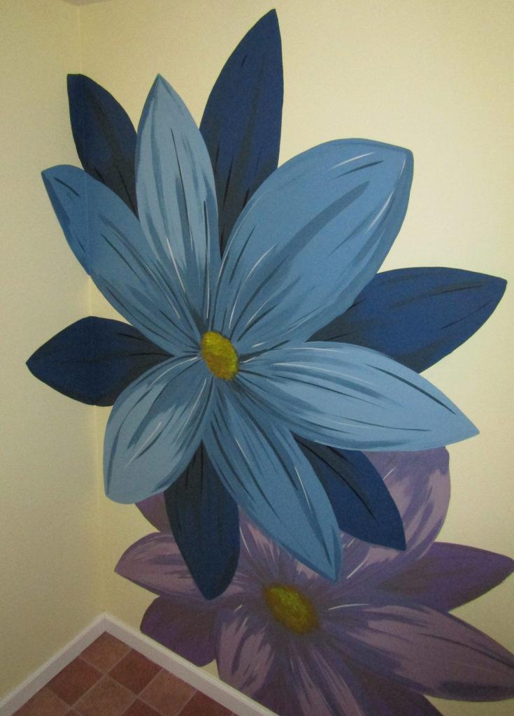 bathroom mural basement floral