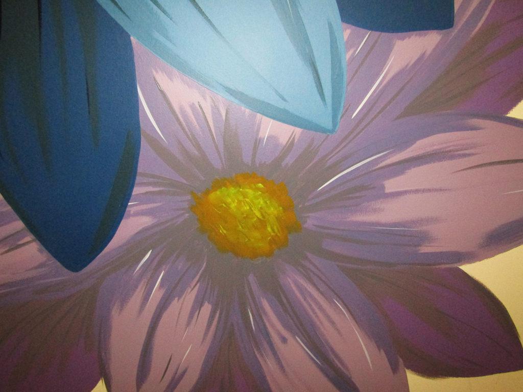 purple flower big art mural bathroom
