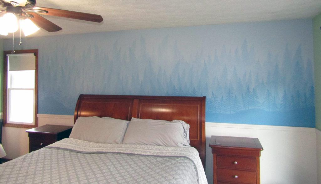pine tree dreamy mural adult bedroom